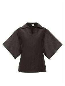 Totême - Liry Linen-blend Shantung Top - Womens - Black