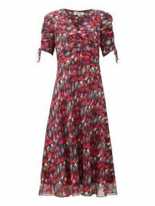 Diane Von Furstenberg - Eleanora Gathered Silk-chiffon Midi Dress - Womens - Red Multi