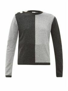 Ganni - Crystal-button Cashmere Sweater - Womens - Grey Multi