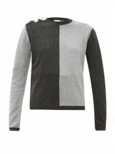 Ganni - Crystal-button Cashmere Sweater - Womens - Grey Multi