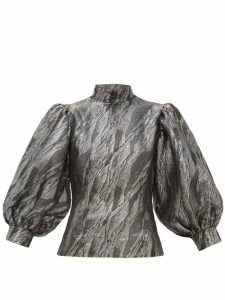 Ganni - Balloon-sleeved Jacquard Top - Womens - Silver