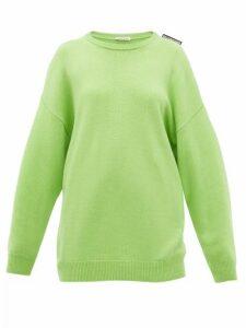 Balenciaga - Logo-tab Cashmere Sweater - Womens - Green