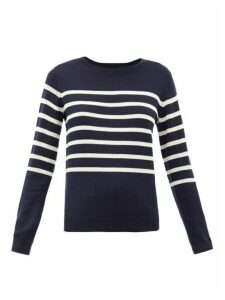 A.p.c. - Cordelia Breton-stripe Merino Wool-blend Sweater - Womens - Navy