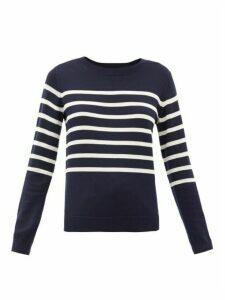 A.P.C. - Cordelia Breton-stripe Merino Wool-blend Sweater - Womens - Navy