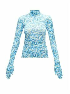 Vetements - Glove-sleeved Floral-print Jersey Top - Womens - Blue White