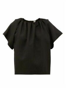 Totême - Savanetta Gathered-neck Crépe T-shirt - Womens - Black