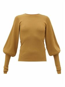 Totême - Vignola Bishop-sleeve Ribbed-knit Sweater - Womens - Light Brown
