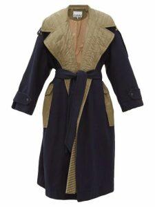 Ganni - Two-tone Belted Wool-blend Coat - Womens - Khaki Multi
