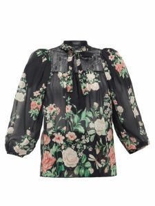 Giambattista Valli - Neck-tie Floral-print Silk-georgette Blouse - Womens - Black Multi