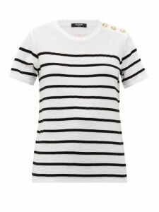 Balmain - Flocked-stripe Cotton-jersey T-shirt - Womens - White Black