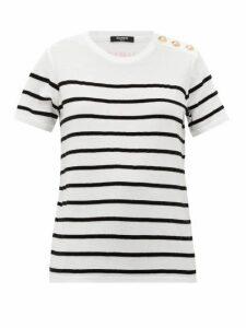 Balmain - Flocked-stripe Cotton-jersey T-shirt - Womens - White Black