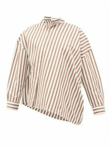 Totême - Noma Asymmetric Striped Cotton-poplin Shirt - Womens - Brown White