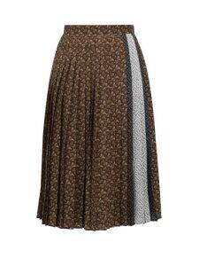 Burberry - Marine Tb-print Pleated Crepe Midi Skirt - Womens - Brown Print