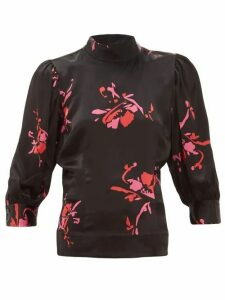 Ganni - Floral-print Satin High-neck Blouse - Womens - Black Multi