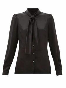 Dolce & Gabbana - Pussy-bow Silk Satin Blouse - Womens - Black