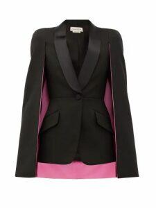 Alexander Mcqueen - Cape-sleeve Single-breasted Wool-blend Jacket - Womens - Black