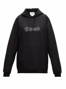 Vetements - Crystal-logo Jersey Hooded Sweatshirt - Womens - Black