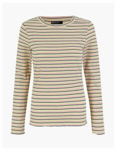 M&S Collection Striped Ribbed Fitted Long Sleeve Top