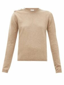 Ganni - Crystal-button Cashmere Sweater - Womens - Beige