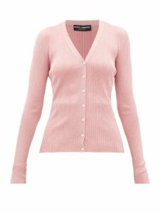 Dolce & Gabbana - V-neck Lamé Cardigan - Womens - Pink