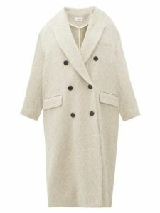 Isabel Marant Étoile - Ojima Wool-blend Herringbone-tweed Coat - Womens - Ivory