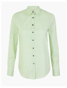 M&S Collection Cotton Rich Printed Long Sleeve Shirt