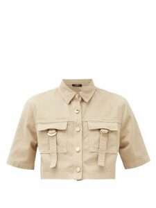 Balmain - Cropped Cotton-blend Safari Shirt - Womens - Nude