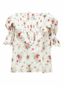 Horror Vacui - Charlotte Floral-print Cotton Top - Womens - White Print