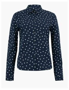 M&S Collection Cotton Rich Polka Dot Fitted Shirt