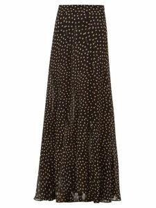 Ganni - Polka-dot Georgette Maxi Skirt - Womens - Black