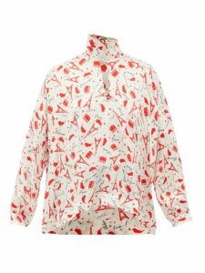 Balenciaga - Paris-print Tie-neck Silk Blouse - Womens - Red White
