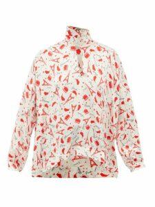 Balenciaga - Paris-print Tie-neck Silk Blouse - Womens - Red White