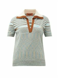 Missoni - Spread-collar Wool-blend Knitted Polo Shirt - Womens - Blue Multi