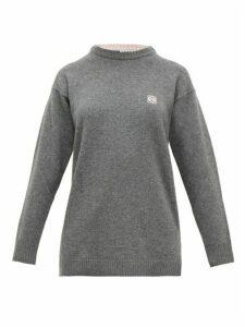 Loewe - Anagram-embroidered Wool Sweater - Womens - Grey