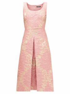 Dolce & Gabbana - Metallic Floral-jacquard Midi Dress - Womens - Pink Multi