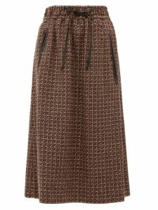 Gucci - Leather-drawstring G-jacquard Midi Skirt - Womens - Brown