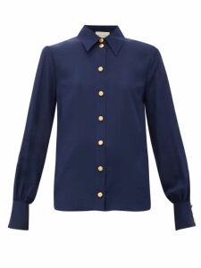 Gucci - Anchor-debossed Button Silk Blouse - Womens - Navy