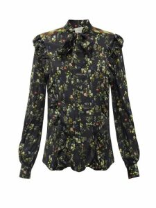 Preen By Thornton Bregazzi - Tasha Ruffled Floral-print Silk-blend Blouse - Womens - Black Print
