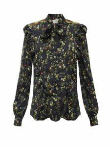 Preen By Thornton Bregazzi - Tasha Ruffled Floral-print Silk-blend Blouse - Womens - Black Print