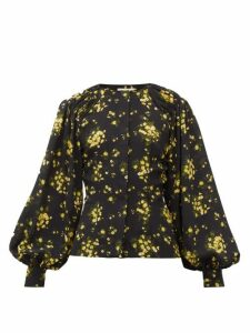 Emilia Wickstead - Margot Floral-print Georgette Blouse - Womens - Black Yellow
