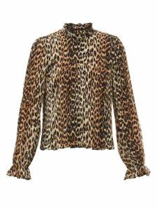 Ganni - Ruffled-neck Leopard-print Plissé Georgette Top - Womens - Leopard