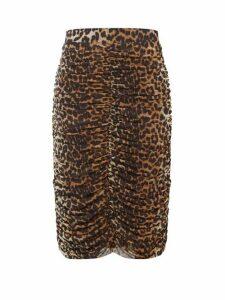 Ganni - Ruched Leopard-print Pencil Skirt - Womens - Leopard