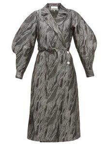 Ganni - Crystal-button Brocade Wrap Coat - Womens - Silver