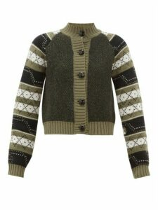 Ganni - Fair Isle Wool-blend Cardigan - Womens - Khaki Multi