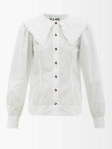 Ganni - Ruffled-collar Cotton-poplin Shirt - Womens - White