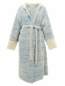 Loewe - Longline Bouclé-knit Cotton-blend Hooded Cardigan - Womens - Blue