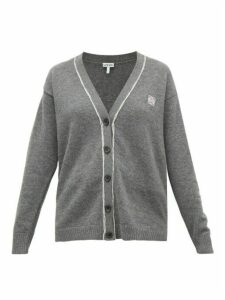 Loewe - Anagram-embroidered Wool Cardigan - Womens - Grey