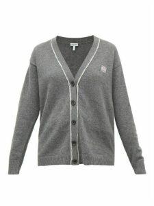Loewe - Anagram-embroidered Wool Cardigan - Womens - Grey