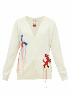 Loewe - Crochet Animals V-neck Wool Cardigan - Womens - Cream