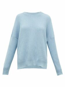 Loewe - Dropped-shoulder Ribbed Cotton Sweater - Womens - Light Blue